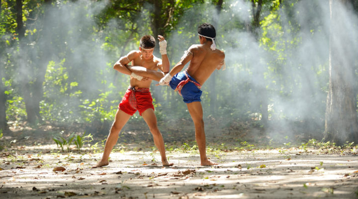 Muay thai chaiya art fight boxing and combat rope tied hand